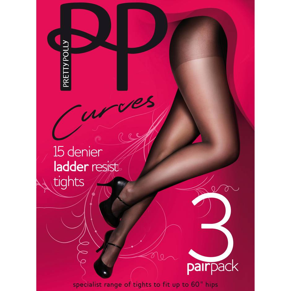 Pretty Polly Curves Barely Black 15 Denier Ladder Resistant Tights (3 Pack)
