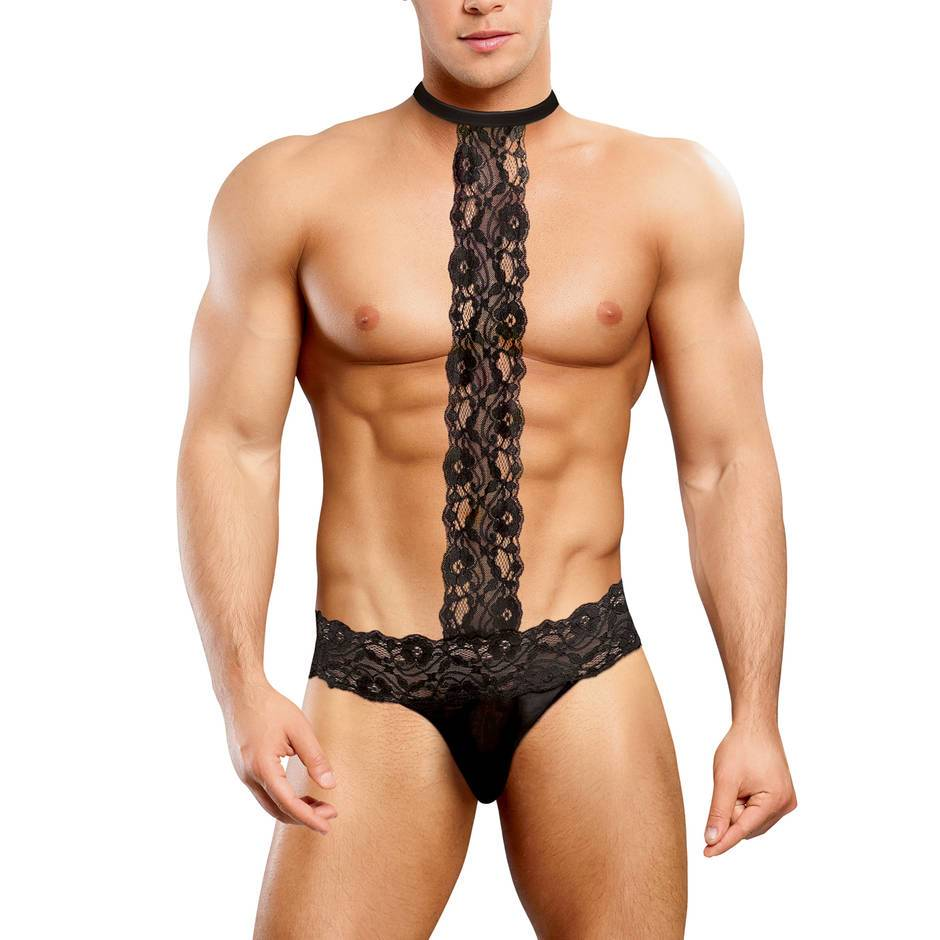 Male Power Scandal Lace Thong with Choker