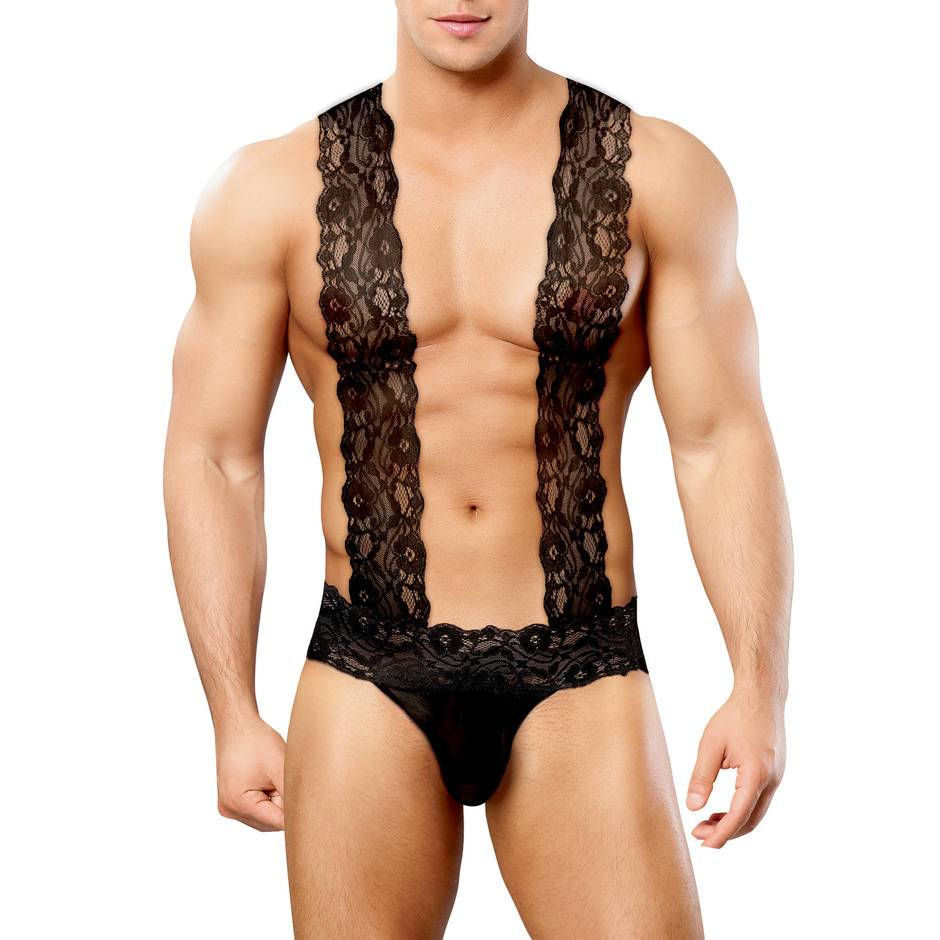 Male Power Scandal Lace Thong with Braces