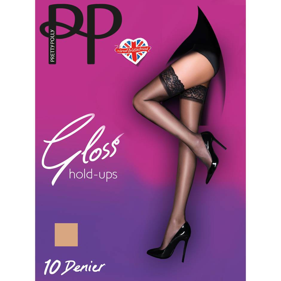 Pretty Polly Gloss 10 Denier Lace Top Nude Hold Ups