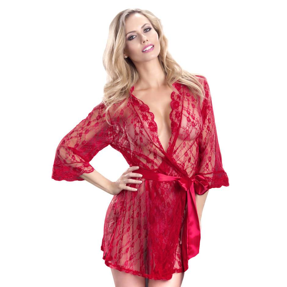 Oh La La Cheri Lace Robe with Belt Red