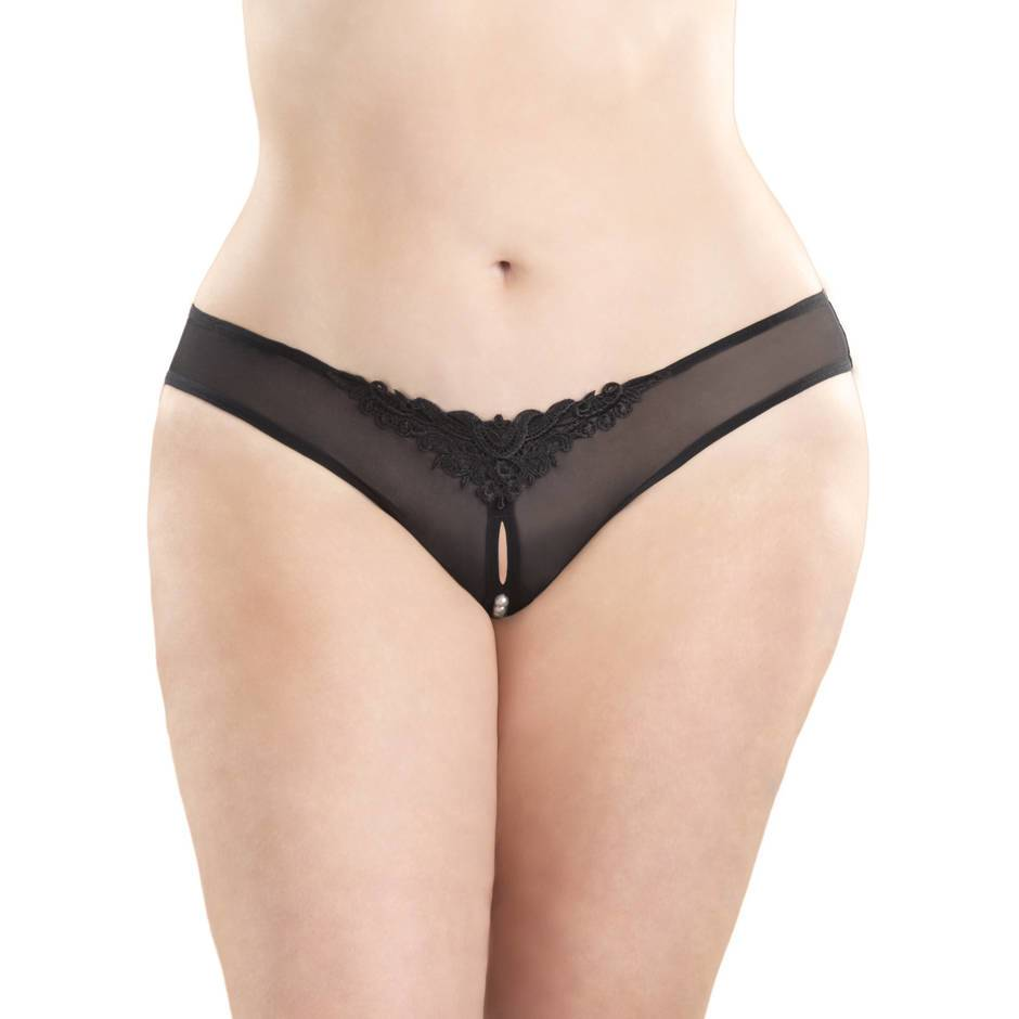 Oh La La Cheri Curves Plus Size Crotchless Thong With Pearls