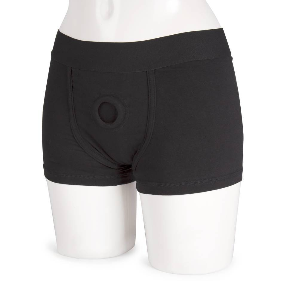 Packer Gear Strap-On Harness Boxer Shorts with Vibe Pocket