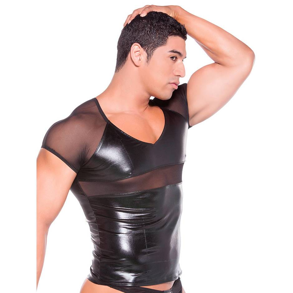 Zeus by Allure Wet Look and Sheer T-Shirt for Men