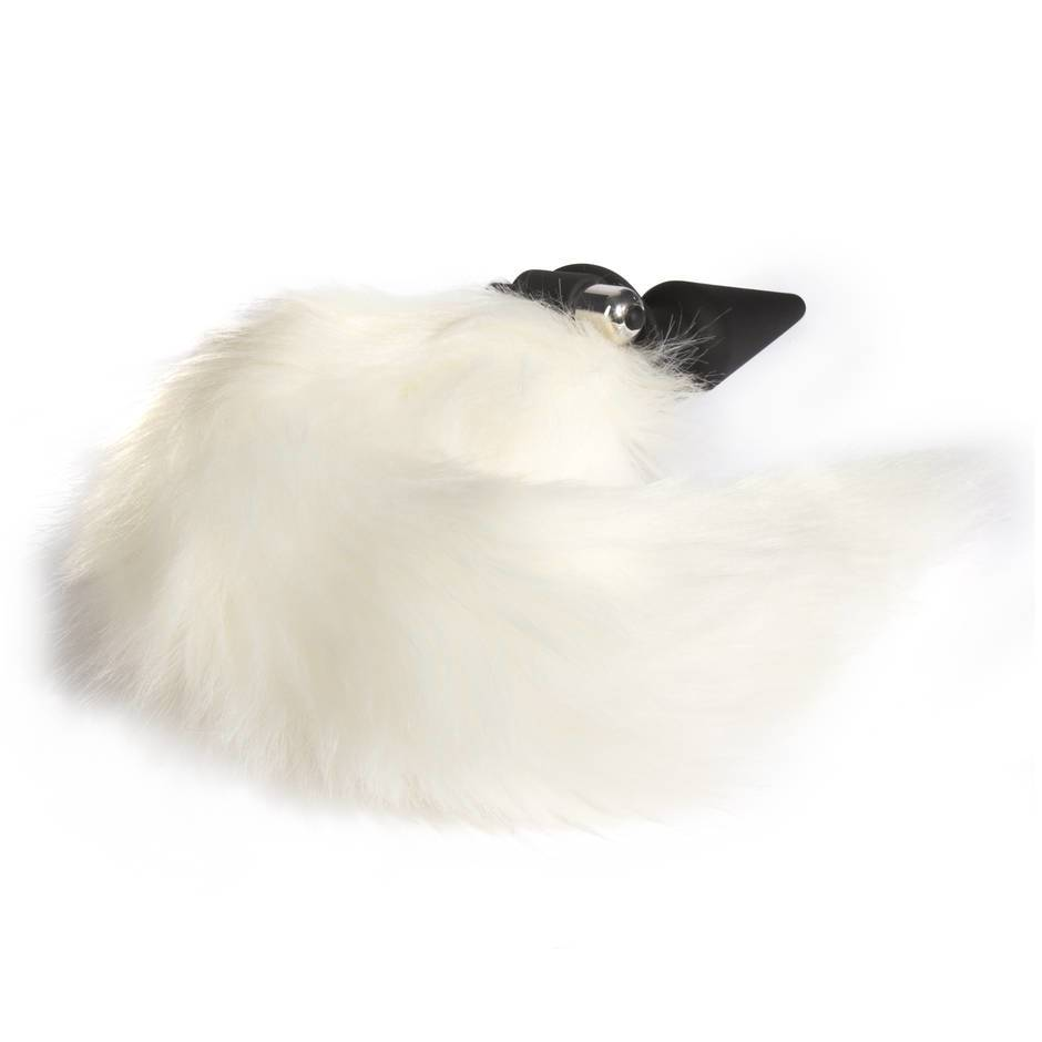 Frisky Faux Fur Fox Tail Vibrating Silicone Butt Plug
