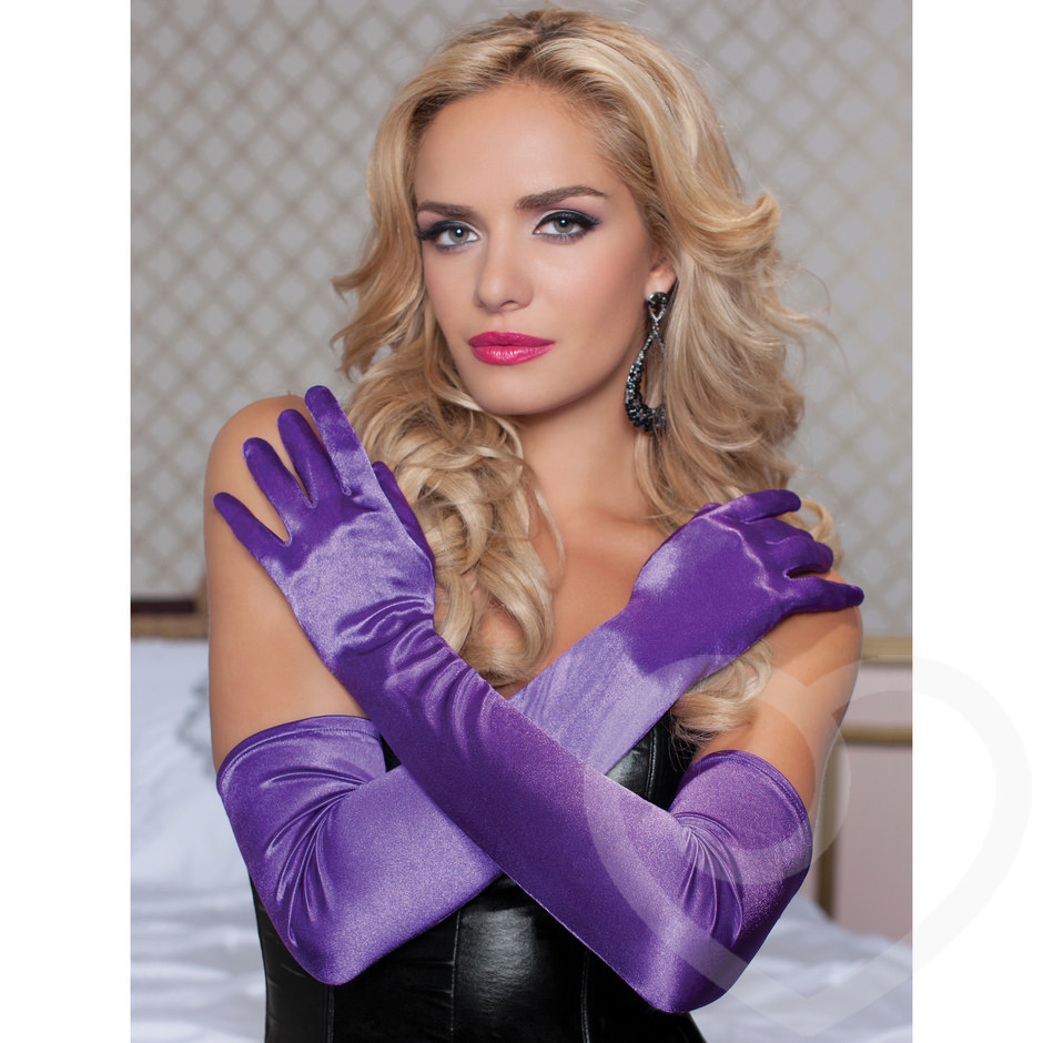 Seven Til Midnight Long Purple Satin Gloves
