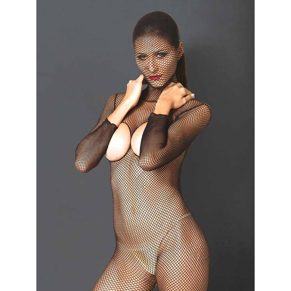 Leg Avenue Kink Hooded Fishnet Open Cup Crotchless Bodystocking