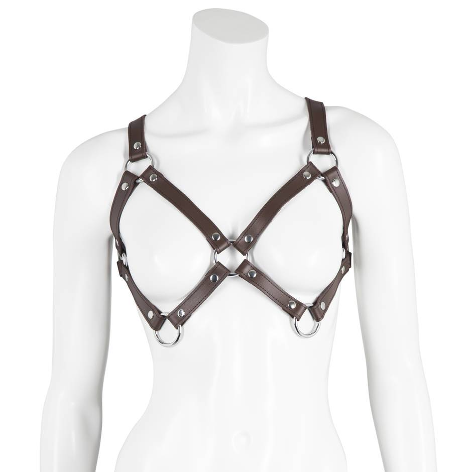 DOMINIX Deluxe BRAUN Leather Chest Harness