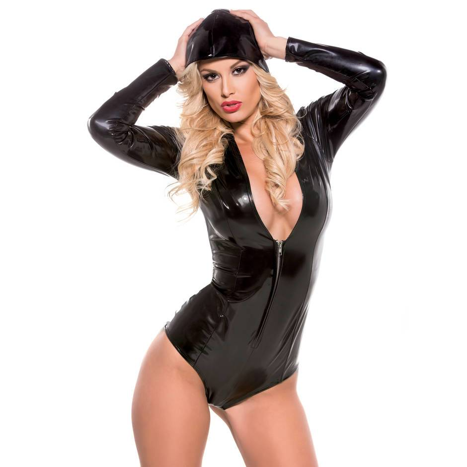 Second Skin Long Sleeve Hooded Wet Look Bodysuit