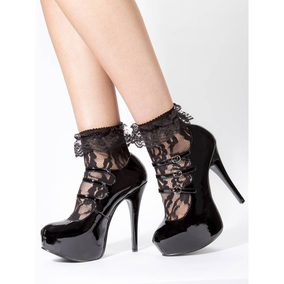 Leg Avenue Black Lace Ankle Socks