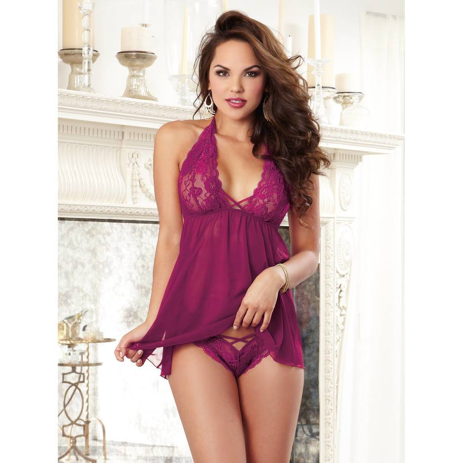 Dreamgirl Raspberry Sheer Lace Babydoll and Panty Set