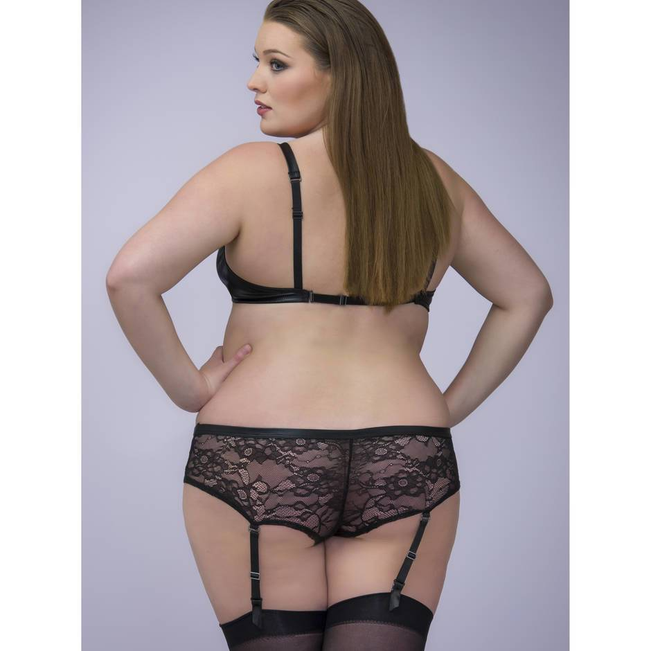 Plus size sexy open back sheer suspender pantyhose.