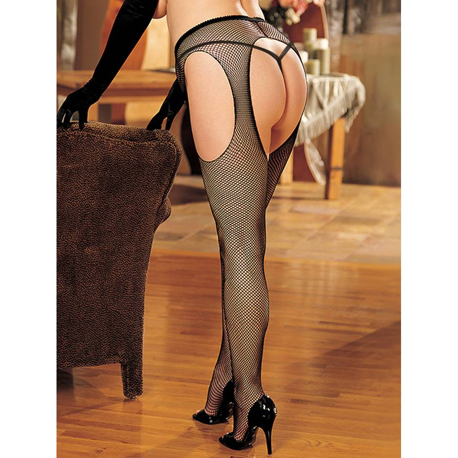 Shirley of Hollywood Plus Size Fishnet Suspender Tights