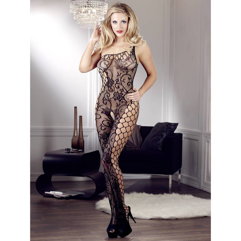 Mandy Mystery Asymmetric Crotchless Fishnet Bodystocking