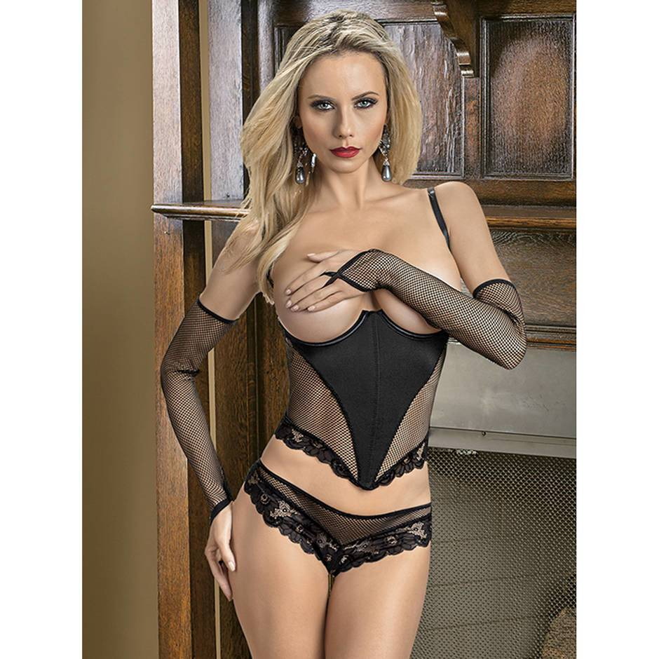 Escante Open Cup Fishnet Basque with Gloves