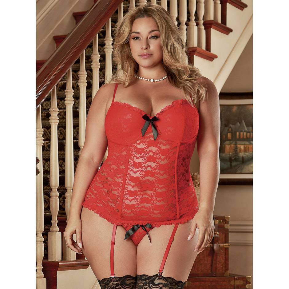 Exposed Luv Plus Size Red Floral Lace Bustier and G-String Set