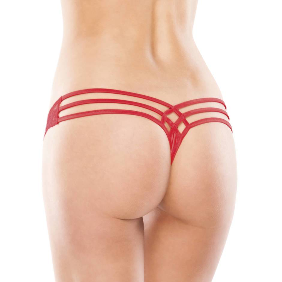Coquette Red Lace Thong with Cage Back