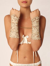Paul Seville Leather Lace Gauntlets Cream