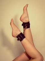FLEET Ilya Studded Leather Ankle Cuffs Black
