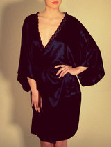 Stella McCartney Clara Whispering Short Silk Robe Midnight Blue