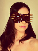 Paul Seville Red Patent Leather Spiked Blindfold Mask
