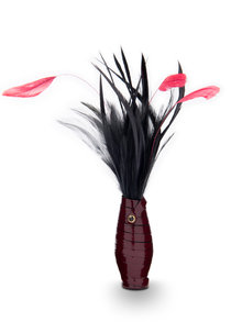 Paul Seville Red Wine Patent Feather Tickler with Black Feathers