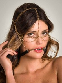 Lascivious Gag Headpiece with Gold Chain