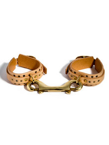 Fleet Ilya Thin Studded Leather Ankle Cuffs Nude