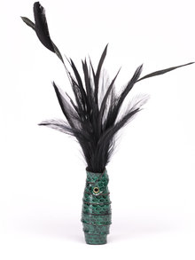 Paul Seville Green Feather Tickler with Snakeskin Handle