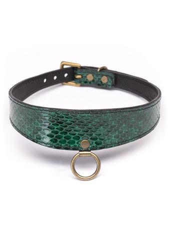 Paul Seville Green Snakeskin Collar with O-Ring