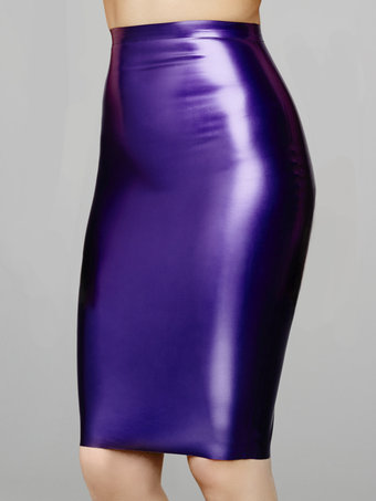 Coco de Mer Latex Pencil Skirt Purple