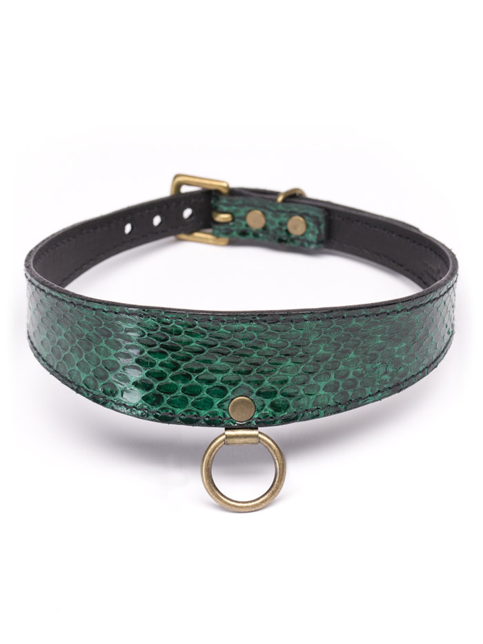 Paul Seville Green Snakeskin Collar with O-Ring