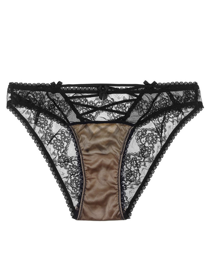 Orchid Corset Knicker Black/Peach