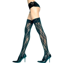 Music Legs Flower Lace Thigh High Stockings