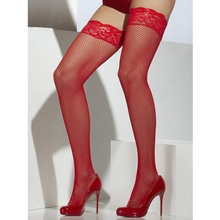 Fever Hold Up Fishnet Stockings with Lace Tops
