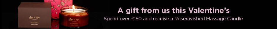 A gift from us this Valentine's: Spend over 150 and receive a free Roseravished Massage candle