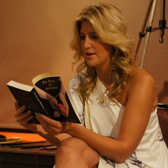 Made in Chelsea's Cheska Hull reads Diary of a Submissive at the book launch in Coco de Mer