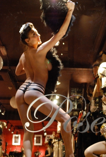 Francesca performs an erotic burlesque performance for Fashion's Night Out