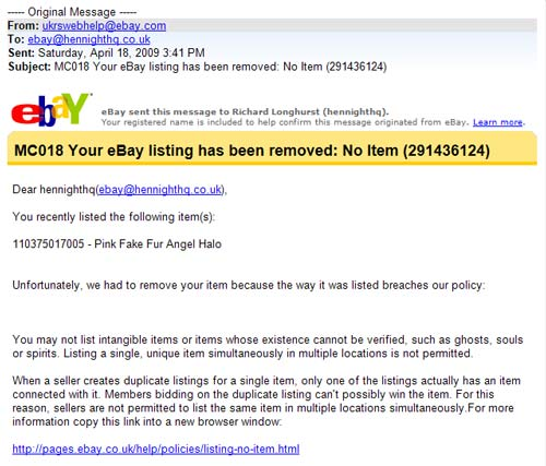 eBay says angels don't exist