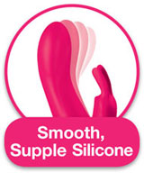 The Happy Rabbit is made of smooth, supple silicone