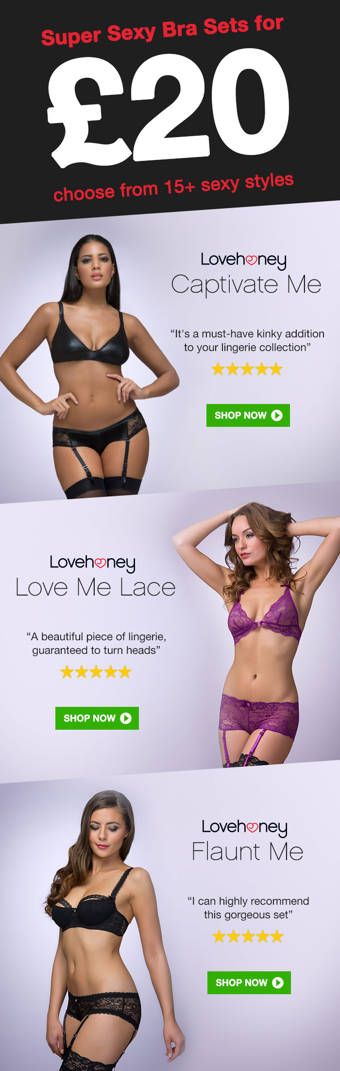 Super Bra Sets for 20 choose from 15+ sexy styles