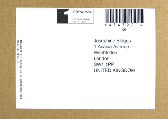 Your Flesh Mate address label, with discreet sender's address