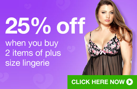 25% off when you buy 2 items of plus size lingerie