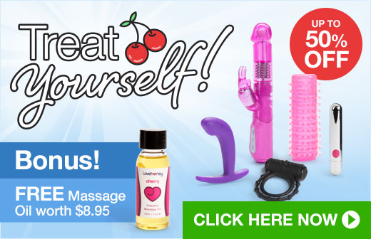 Treat yourself! Up to 50% off toys plus FREE Massage Oil