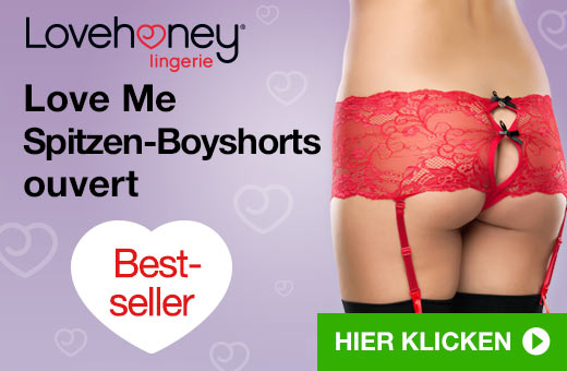 Lovehoney Lingerie Love Me Spitzen Boyshorts ouvert