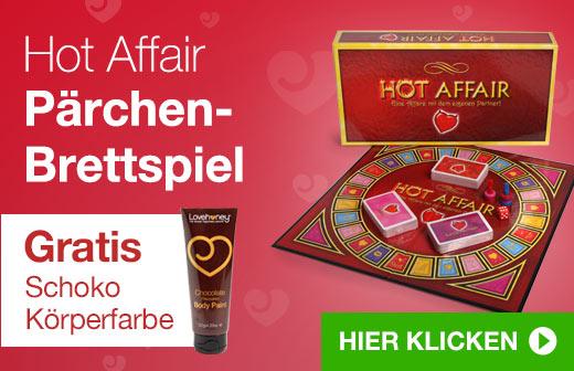 Hot Affair Pärchen-Brettspirl mit Gratis Schoko Körperfarbe