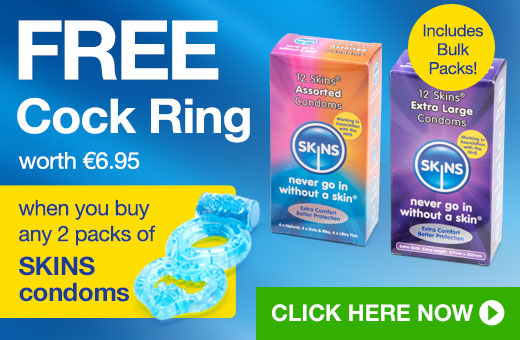 FREE €6.95 Cock Ring when you buy any 2 Pack of SKINS condoms