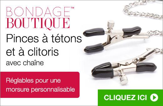 Pinces à tétons et à clitoris aven chaîne par Bondage Boutique