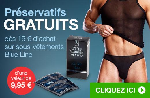 Préservatifs GRATUITS dès 15 € d'achat sur sous-vêtements Blue Line