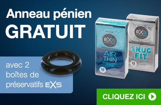 Anneau pénien GRATUIT avec 2 boîtes de préservatifs EXS